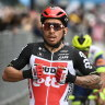 Australia's Caleb Ewan celebrates winning the seventh stage of the Giro d'Italia cycling race, from Notaresco to Termoli, Italy, Friday, May 14, 2021.  (Marco Alpozzi/LaPresse via AP)
