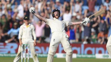 Ben Stokes celebrates England's stunning win.
