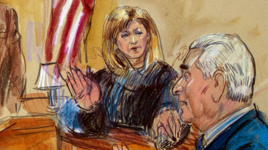 Courtroom sketch of former campaign adviser for President Donald Trump, Roger Stone, talking from the witness stand as Judge Amy Berman Jackson listens during a court hearing last year.
