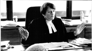 Jane Mathews pictured in her NSW Supreme Court chambers in 1992.