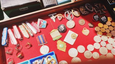 The memorabilia for sale at a trash and treasure market in Wantirna.