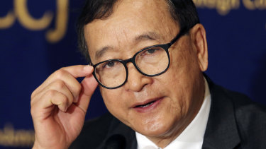 Cambodia's self-exiled opposition leader Sam Rainsy has been sentenced in absentia.