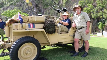 Wynnum residents Jeff and Jenny Jackson shared their love for military vehicles at Howard Smith Wharves, displaying a 1942 jeep, truck and motorbike.