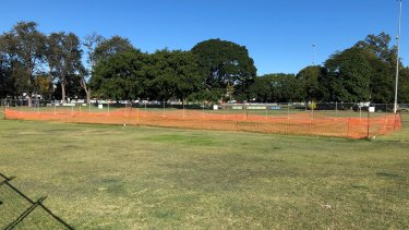 The pitch Coorparoo Cricket undertook irrigation work on is now blocked off by the council.
