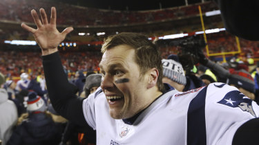 Patriots quarterback Tom Brady celebrates their win.