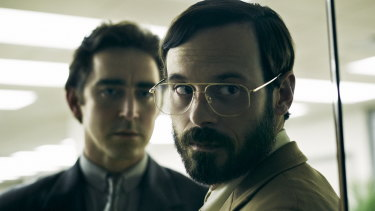 Joe MacMillan (Lee Pace, left) and Gordon Clarke (Scoot McNairy) take on computer giant IBM in <i>Halt and Catch Fire.