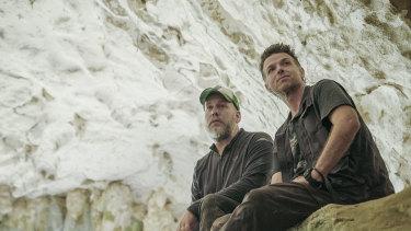 Griffith University'sProfessor Maxime Aubert (left) and Associate Professor Adam Brumm at the cave site.