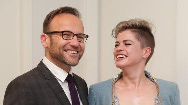 Greens MP Adam Bandt and Claudia Perkins.