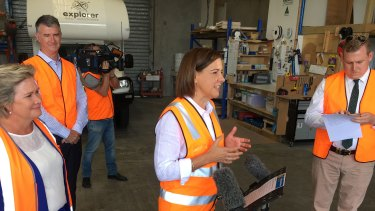 LNP leader Deb Frecklington in Redcliffe on Tuesday after reports she had been referred to the electoral watchdog.