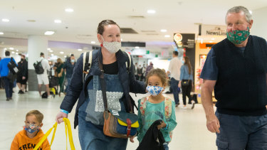 Brenda and Paul Heseltine, daughter Alison and grandchildren Ailani and Patrick at Melbourne Airport.