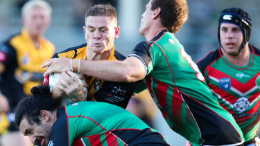 'In shock': Paul Carter is tackled while playing for Cessnock.