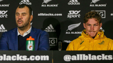 A week's a long time in rugby: Michael Cheika and Michael Hooper front the media after the Wallabies' emphatic loss.