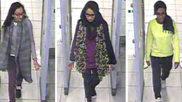 CCTV showed Shamima Begum, centre, and two friends, Kadiza Sultana, left, and Amira Abase, going through security at Gatwick airport, before they caught their flight to Turkey in 2015.