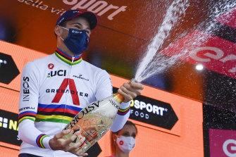 Filippo Ganna celebrates winning the 14th stage of the Giro.