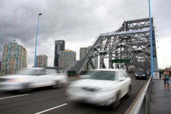 Traffic is building up as a truck breakdown on the Story Bridge causes delays.