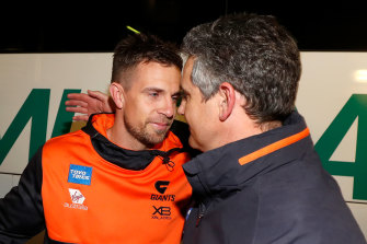 Brett Deledio, left, with Giants coach Leon Cameron, right, during the 2019 AFL preliminary finals.