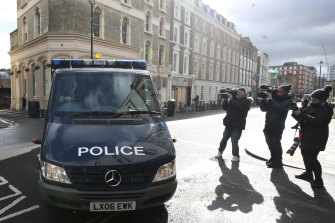 A police van arrives at Westminster Magistrates' Court in London on Saturday ahead of an appearance by Constable Wayne Couzens.