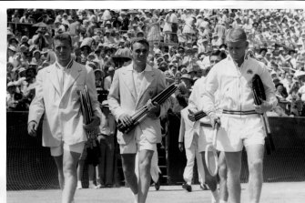 Legends of the day: Americans Tony Trabert and Vic Seixas, and Australia's Ken Rosewall and Lew Hoad, before their Davis Cup clash at White City in 1954.