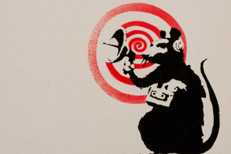 Banksy'sRadar Rat appeared on a few walls in the streets of London.They were later reproduced on canvas in 2004 as well as on the cover of Dirty Funker's 'Future' album in 2008.