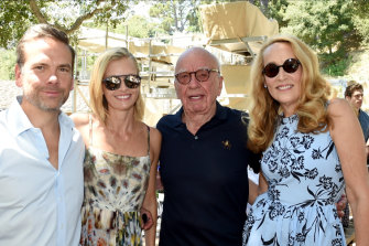 Lachlan and Sarah Murdoch with Rupert Murdoch and Jerry Hall celebrating the winery's 30th anniversary.
