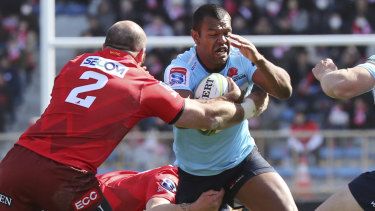 Scare: Kurtley Beale in action for the Waratahs against the Sunwolves in round two, where the Waratahs managed the narrowest of victories.