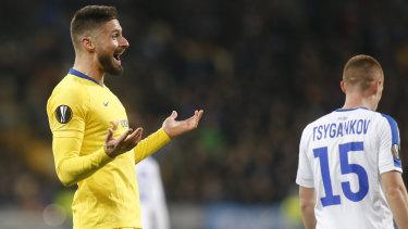 Chelsea's Olivier Giroud celebrates scoring against Dynamo Kiev.