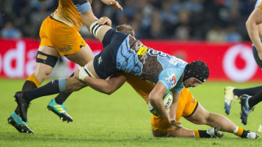 Upended: The Waratahs' loss to the Jaguares means they are unlikely to reach the finals this season.