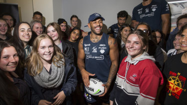 Melbourne Storm's Josh Addo-Carr spoke to students about leadership and his life in footy at AAMI Park yesterday.