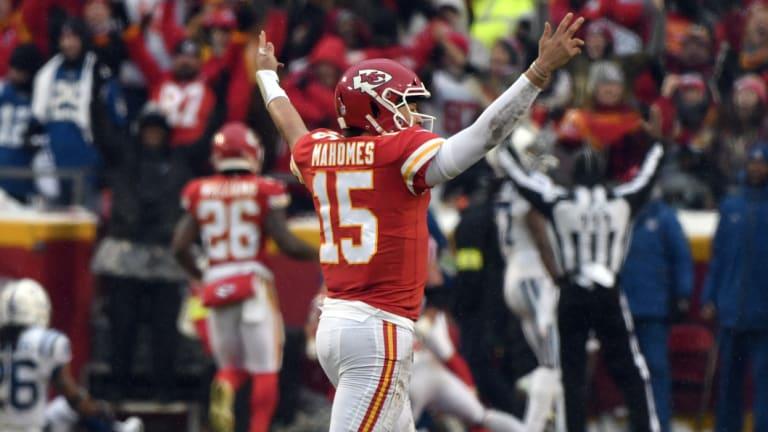 Chiefs quarterback Patrick Mahomes celebrates a touchdown.