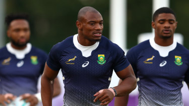 Dedicated: Makazole Mapimpi during a South Africa training session at Fuchu Asahi Football Park in the lead-up to their clash with Wales.