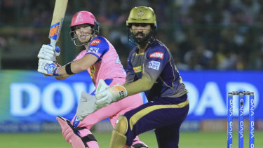 Old hand: Steve Smith bats for the Rajasthan Royals, who hope his leadership will lift the side for the remainder of the IPL season.