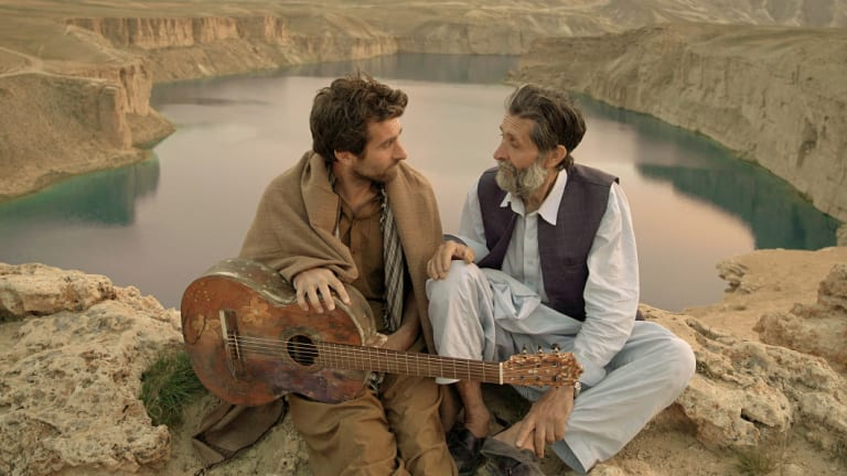Shot in secret in Afghanistan: Sam Smith and Sher Alam Miskeen Ustad.