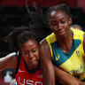 USA exploit Cambage-sized hole in Opals as Australia bow out