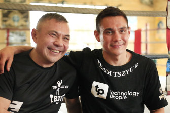 Kostya Tszyu and son Tim in Sydney.
