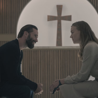 Strahovski as Serena with Joseph Fiennes as Fred in The Handmaid's Tale.