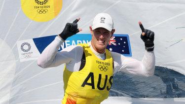 Matt Wearn celebrates his gold medal in the Laser class.