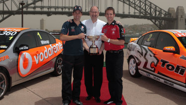 Jamie Whincup, Tony Cochrane and Will Davidson promoting the V8 Supercars in Sydney in 2009.