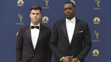 Emmys hosts Colin Jost and Michael Che.