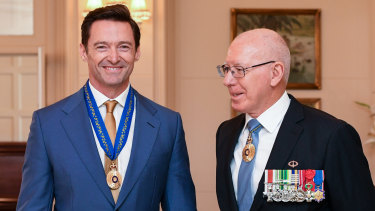 Hugh Jackman is awarded the Order of Australia by Governor-General David Hurley on Friday.