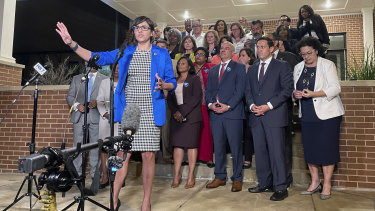 Texas state Representative Jessica Gonzalez speaks after House Democrats pulled off a dramatic, last-ditch walkout.
