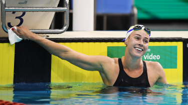 Brianna Throssell reacts to winning the women's 200 metre butterfly in Adelaide.