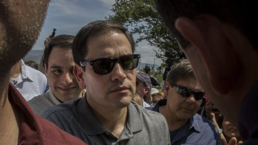 Senator Marco Rubio, a Republican from Florida, centre, arrives at humanitarian aid facilities in Cucuta, Colombia.