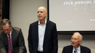 Fairfax CEO Greg Hywood (centre), chairman Nick Falloon (left) and board member Jack Cowin (right).
