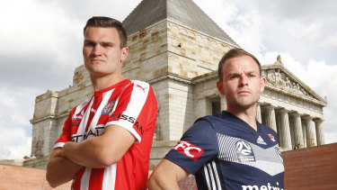 Curtis Good, left, and Melbourne City are flying high while Leigh Broxham, right, and Victory are pushing for improvement.