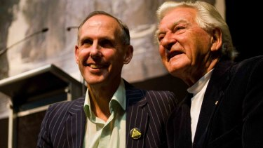 Bob Hawke, right, and Bob Brown at  a celebration in Hobart in 2008 to mark the 25th anniversary of the decision to stop the damming of the Franklin River.