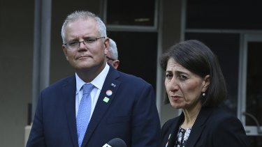 Prime Minister Scott Morrison and NSW Premier Gladys Berejiklian at Royal Prince Alfred Hospital on Friday.