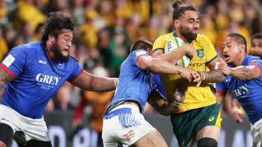 On the loose: Lukhan Salakaia-Loto's performance against Samoa confirmed his place among Michael Cheika's best back-row options.