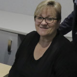 Auslan interpreter Fiona Perry.