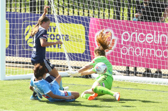 Clean sheet: Victory keeper Gabby Garton saves a shot in the round three derby match against City.