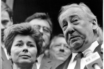 """The court case of High Court Judge, Lionel Murphy ended today with a not guilty verdict. The strain of the past court case is clearly etched upon the faces of both Mrs. Ingrid Murphy and Lionel Murphy as they speak to the Press after the verdict."" April 28, 1986."